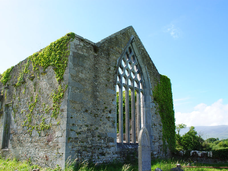 Outside view of the large window in Milltown Abbey, Kerry