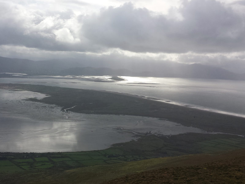 Looking down on Inch Strand from Sliabh Mish