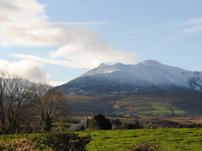 View of the MacGillycuddy Reeks in winter