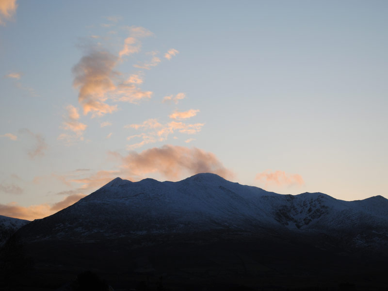 View of the MacGillycuddy Reeks at sunset