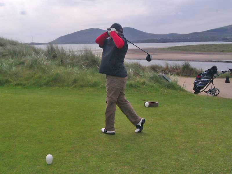 Richard teeing off from the 16th hole Liam's Ace in Waterville