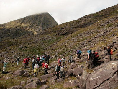 Starting the ascent of Ireland's highest mountain