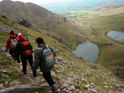 Crossing the Leaca Bhán on the descent of Carrauntoohil