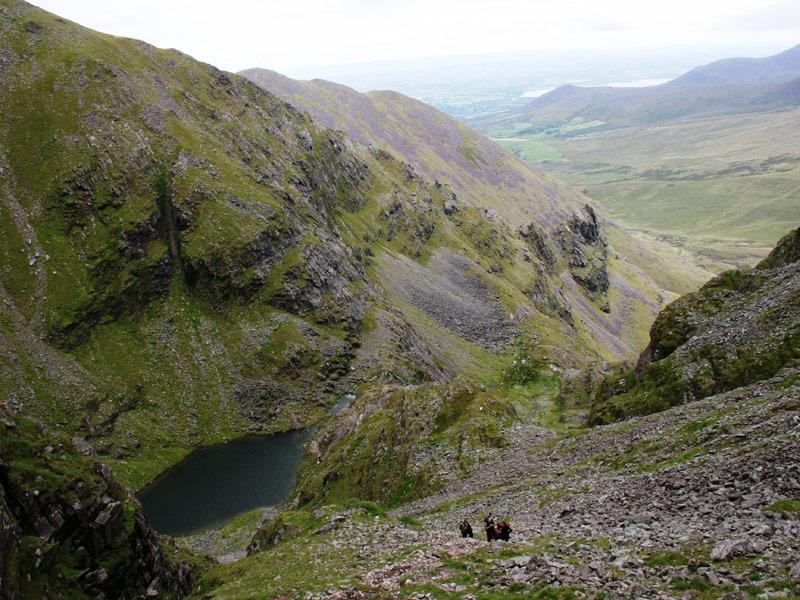 Looking down towards Loch Coimín Uacthar on Carrauntoohil